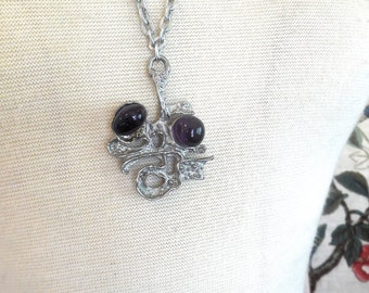Vintage 70s Pewter Brutalist Necklace with Amethyst Stones Guy Vidal Style