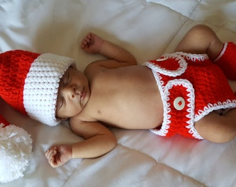 Santa Baby Christmas Set, Baby Christmas Shoes Set, Christmas Santa Photo Set