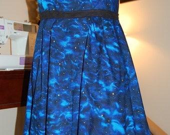 Space Galaxy Blue & Gold Halter Cotton Dress Size 8-10/S-M