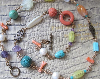 Vintage Assemblage Vintage Bead Chain Link Necklace. Menagerie Multi Beads: Coral Branch, Turquoise, Quartz, Pearl, Toggle Clasp OOAK Chain