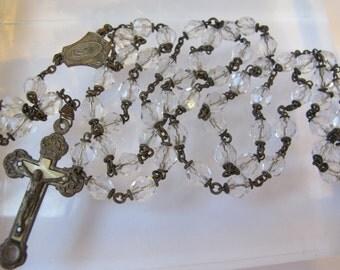 "Art Nouveau Rosary/ ""Roma Terra Catacumba"" / Fine Faceted Clear Crystal (Czech Likely) Bead 5 Decade Rosary/ Antique Italian Rosary/ Rome"