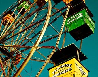Ferris Wheel Fun, Carnival, Fair, Retro, Vintage 12x16 Photograph Print