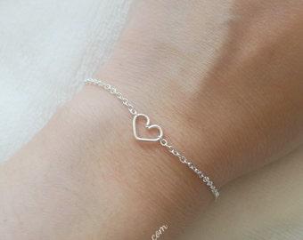 Tiny Heart Bracelet Dainty Simple Love Delicate Jewelry