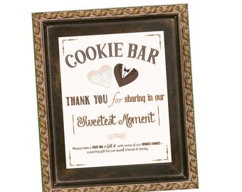 Wedding Cookie Bar Sign - Cookie Buffet - Wedding Cookie Favors - 8 x 10 - Blush Background