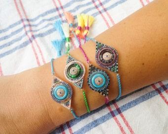 Evil eye tassel bracelets, colorful evil eye boho bracelets sterling silver bracelet bohemian turkish evil eye 925 silver lucky eye bracelet
