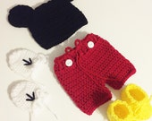 Mickey mouse inspired set, Baby boy Halloween costume, Baby boy  hat, Mickey mouse hat, Crochet Mickey Mouse newborn hats, Crochet newborn