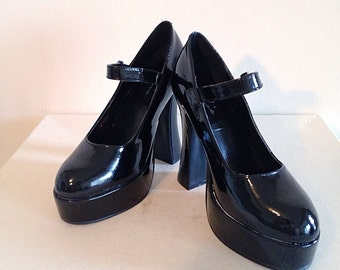 Shiney Black Patent Leather Monster Platform Mary Janes Rockabilly Goth Pin Up Size 7