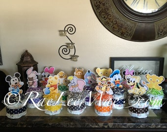 Elegant 5 Baby Disney Characters Diaper Cake Minis/Baby Shower Birthday Decorations  Centerpieces/baby Minnie