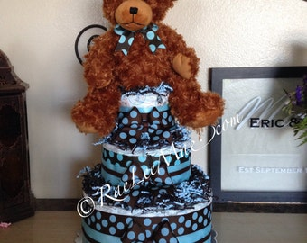 Teddy Bear Diaper Cake/Teddy Bear Baby Shower gift or decoration/Teddy Bear Dispercake Centerpieces/brown and blue polka dot baby shower
