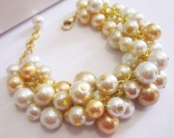 Wedding Bracelet, Ivory and Gold Pearl Bracelet, Bridesmaid Bracelet, Chunky Cluster Bracelet, Gold and Ivory Pearl Jewelry