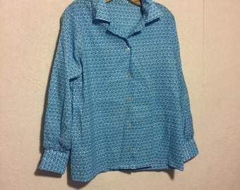 Vintage Long Sleeve Blue Floral 1960s/1970s Blouse