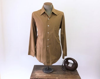 1970s Men's Brown Disco Era Shirt Vintage Cotton & Polyester Long Sleeve Shirt by SEARS - Size LARGE