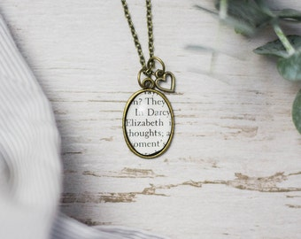 Pride and Prejudice Jane Austen Elizabeth Bennet and Mr Darcy Antiqued Bronze Book Page Literature Necklace