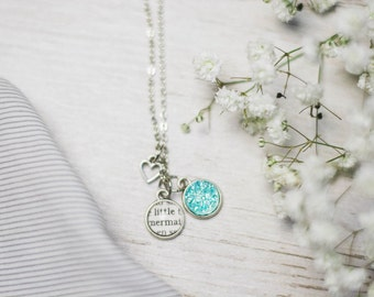 Little Mermaid Necklace, Hans Christian Andersen, Classic Literature, Shiny Silver, Book Lover Gift, Fandom Jewelry, Blue Druzy, Book,