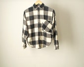 NIRVANA faded plaid SOFT flannel shirt black & light yellow sunbleached faded top