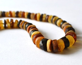 Natural Amber Raw Necklace Untreated Baltic Amber Colorful Necklace Genuine Amber Organic Sea Inspired