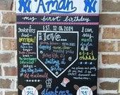 Chalkboard Birthday Sign First Birthday New York Yankees Style Baseball theme birthday sign - Boy or Girl Any Theme