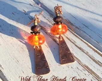 Orange Copper Lampwork Dangle Earrings  -