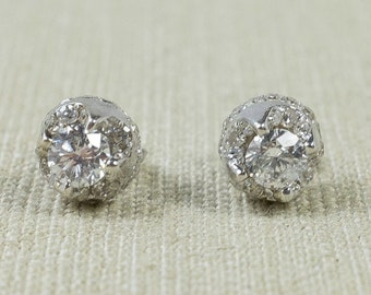 Lovely Custom 14K White Gold Natural 1.00ctw Diamond Cluster Halo Side Accented All Around Sparkle Unique Stud Post Earrings FREE SHIPPING!