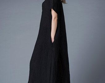 Long linen dress, Maxi dress, linen dress, linen dress woman, black dress, womens dresses, womens dresses maxi, dress, causal dress C847