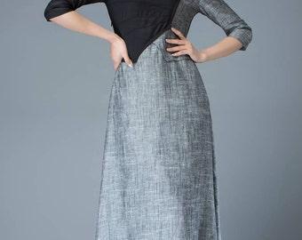 Gray Linen Dress - Black/Grey Block Color Fitted All-Occasions Handmade Designer Dress C805