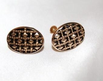 Exquisite Antique 12k GF Cased ONYX Geometrical Earrings E9