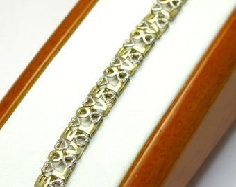 """LOVE Bracelet - 10K Yellow and White Gold- Two Tone Bracelet - 7"""" Long - weight 5.5 Grams - Heart Bracelet - Valentines - REDUCED"""
