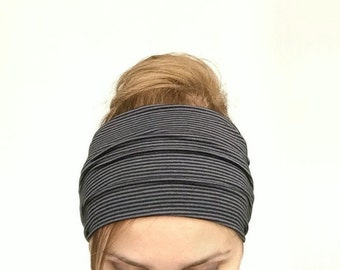 Black wide headband extra yoga wide headwrap jersey large head band workout fitness head wrap dance running hair holder retro hair style