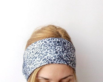 animal print headwrap no slip headband jersey stretch velour large women's wide head band two tone ear warmer hair band wild leopard