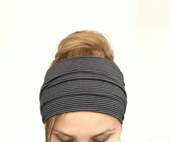 Exercise Hair Bands: Black Wide Headband Extra Yoga Wide Headwrap Jersey Large Head
