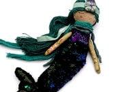 Little Mermaid Doll, Little Princess Mermaid, Rag Doll, Handmade Mermaid Doll, Drowsy Mermaid Doll