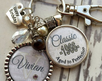 Birthday gift Personalized Classic 50th birthday keychain name mother sister aunt daughter 50th milestone birthday champagne brown 1975 1965