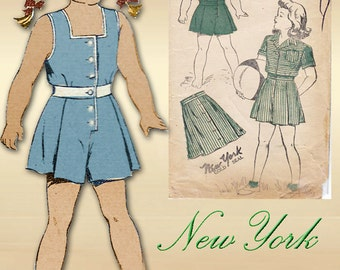 1940s Sewing Pattern New York 173 Girls Summer Playsuit with Optional Styles Size 6