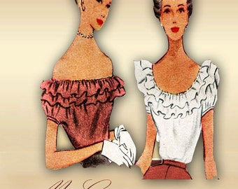 McCall 7638 1940s Blouse Pattern Peasant Style with Scoop Neck or Off the Shoulder with Optional Ruffles Bust 32