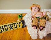 Cowboy outfit, Photo Prop, Baby Cowboy Outfit, Crochet cowboy hat, Baby, Brown