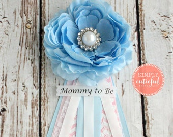 Gender Reveal Shower Corsage, Gender Reveal Baby Shower, Blue and Pink Mommy Grandma to Be Pins