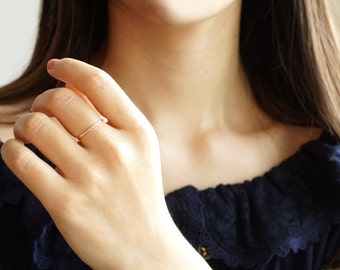 10K Solid Yellow Gold Thin Hammered Ring- Stackable Ring- FREE Shipping- made to order- 3 weeks- modern minimalist jewelry