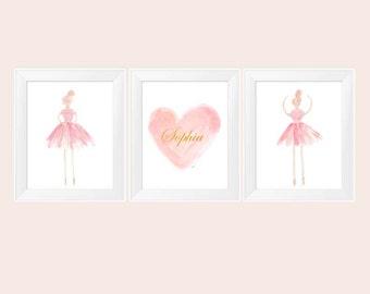 Blush and Gold Ballerina, Set of 3 - 11x14, Ballerina Art, Girls Ballet Decor, Ballet Print, Blush Nursery, Ballerina Decor, Ballet Wall Art