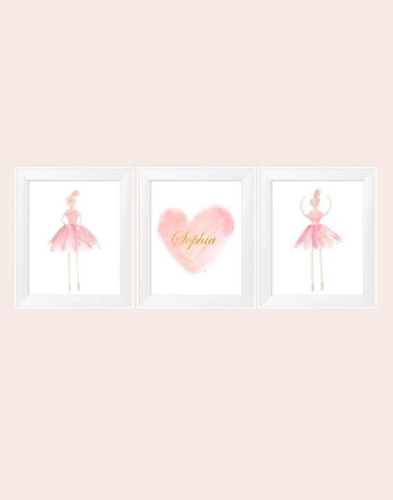 Blush and Gold Ballerina, Set of 3 - 11x14 Nursery Prints