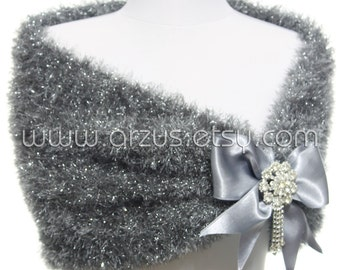 Grey Silver Wedding Shawl Bridal Shawl Bridal Wedding Cape Silver Bolero Hand Knit Shawl Silver Cape Wedding Capelet Bridesmaids Shawl Stole