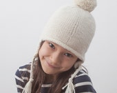 Knit children's hat with ear flaps and pompom, with luxurious Merino, Alpaca and Camel wool