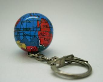 Vintage World Metal Globe Keychain - Map - Travel - Geography