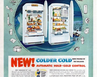 Westinghouse Refrigerator Ad 1949 White Fridge Appliances Mansfield Ohio Green Blue