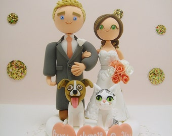 Cute couple with 2 pets custom wedding cake topper