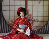 BJD Kimono handmade by GGdollFashions furisode japanese clothing for BJD 1/3 sd, 58-70 sd, eid, yid, iplehouse,, dollfie dream , volks.