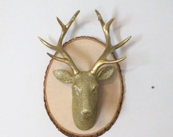Faux Taxidermy Large Gold Deer Head on Plaque, Gold Nursery Decor, Gold Faux Animal Head, Gold Hunting Decor, Deer Wall Hanging