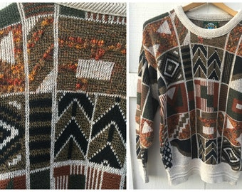 80's Jantzen Tribal Knit Crewneck Sweater // Size Medium