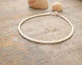 Luxe cream anklet slimline for Weddings and Holidays pearl finish