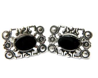 Womens Dante Black Stone Cufflinks Vintage Accessory For Women Black Tourmaline Gemstone Formal Casual Black And Silver Flower Cufflinks