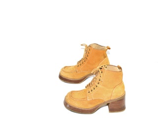 Vintage Candies Beige Ankle Boots Beige Chunky Heel Boots Tan Ankle Boots 90s Candies Ankle Boots Size 7